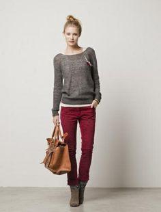 gray & burgundy maison scotch outfit.