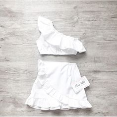 Baby girl summer set, Baby summer, girls set, white outfit, off shoulder, baby girls set, Skirt and Crop Top, Handmade, Vacation,Beach style