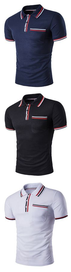 Mens Color Front Pocket Polo Shirt Short Sleeve Spring Summer Casual Tops