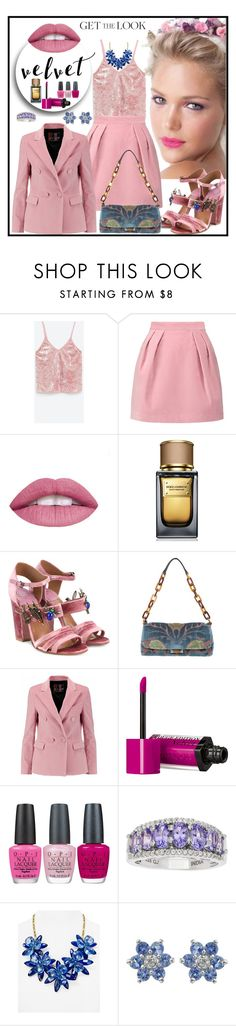 """VELVET"" by fantasiegirl ❤ liked on Polyvore featuring MSGM, Dolce&Gabbana, Laurence Dacade, Miu Miu, Bourjois, OPI and Kate Spade"