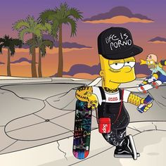 Supreme Wallpaper: GIVEAWAY: Win Bart's snapback painted by artists from Life is Porno. Supreme Iphone Wallpaper, Simpson Wallpaper Iphone, Hype Wallpaper, Simpsons Characters, Simpsons Art, Famous Cartoons, Dope Cartoons, Supreme Skateboard, Hypebeast Wallpaper