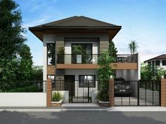 Modern exterior house design exterior house design ideas easy modern 2 storey designs with fence modern . 2 Story House Design, Simple House Design, House Front Design, Minimalist House Design, Modern Minimalist, Two Storey House Plans, 2 Storey House, Bungalow Haus Design, Duplex House Design