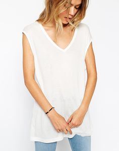 Image 3 ofASOS Slouchy Tank Top In Rib With V Neck