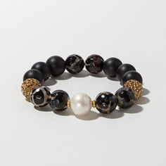 Freshwater Pearl Leopard Agate Onyx and Gold Bracelet