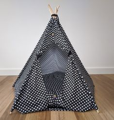 Cute dog teepee by Pebblina with a polka dot design. Made with soft cotton material. Dog Tent, Teepee Tent, Tents, Medium Sized Dogs, Four Legged, Cute Designs, Hanging Chair, Cotton Canvas, Cute Dogs