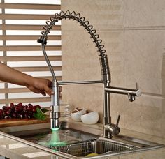 Reviews Brushed Kitchen Sink Taps Rotatable Spray Single Handle With Hot and Cold Water Faucet With LED ★ Sales Brushed Kitchen Sink Taps Rotatable Spray Single H Cashback  Brushed Kitchen Sink Taps Rotatable Spray Single Handle With Hot and C  Recommended : http://shop.flowmaker.info/zatCY    Brushed Kitchen Sink Taps Rotatable Spray Single Handle With Hot and Cold Water Faucet With LEDYour like Brushed Kitchen Sink Taps Rotatable Spray Single Handle With Hot and Cold Water Faucet With LED…