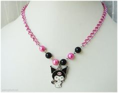 Kawaii Kuromi Necklace Black and Fuschia Beaded Chain in by gatumi, $14.00