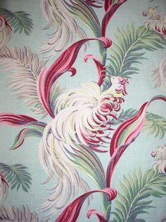 Aqua feather bird flourish barkcloth vintage 1940s