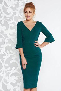 & Rochie verde-inchis eleganta midi tip creion din material elastic cu fir lame captusita pe interior Cold Shoulder Dress, Dresses With Sleeves, Long Sleeve, Interior, Model, Check, Fashion, Green, Moda