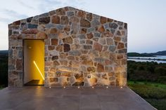 Contemporary Stone House Inspired by the Old Rural Buildings of Sardinia Outdoor Toilet, Journal Du Design, Arch Model, Italian Home, Glass Facades, Glass Floor, Inside Outside, Small Buildings, Construction