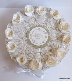 """Geldgeschenke - Hochzeitstorte Papiertorte """"Rosenträume"""" - ein Designerstück von Stempelitis bei DaWanda"""