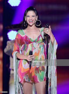 Singer Natalia Jimenez performs onstage at iHeartRadio Fiesta Latina. Natalia Jimenez, Style Icons, Cover Up, Celebs, Singer, Dresses, Fashion, Latin Party, Fiestas