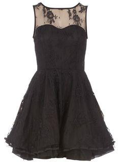 Black frill trim lace dress