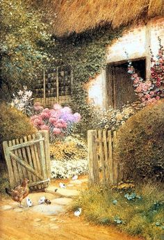 """""""The Visitors"""" . by Arthur Claude Strachan 1865 - 1929 Storybook Cottage, Cottage Art, Old Cottage, Art Beauté, English Country Cottages, Illustration Art, Illustrations, Figure Painting, Painting Art"""