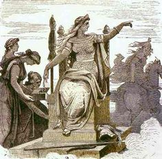 """Frigg on Her Throne, artist unknown c.1850  In Norse mythology, Frigg or Frigga was said to be """"foremost among the goddesses,"""" the wife of Odin, queen of the Aesir (one of the two pantheons of gods in Norse mythology, the other being the Vanir), and Goddess of the Sky - the air and the clouds. One of the �synjur, she is a goddess of fertility, love, household management, marriage, motherhood, and domestic arts."""