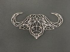 Geometric wooden bull for wall. Geometric Quilt, Geometric Art, Buffalo Tattoo, Popsicle Art, African Buffalo, Chip Carving, Paper Animals, Painted Clothes, Origami