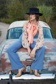 Ekskluzywne sukienki - Lily Was Here by Liliana Kupidura Salmon Color, French Lace, Covered Buttons, Every Woman, Lily, Bohemian, Hat, Elegant, Blouse