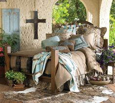 Rustic tans n pastel turquoise. Okay, I found my bedroom set! Western Style, Cowgirl Style, Home Bedroom, Bedroom Decor, Bedroom Ideas, Master Bedroom, Outdoor Bedroom, Peaceful Bedroom, Pretty Bedroom