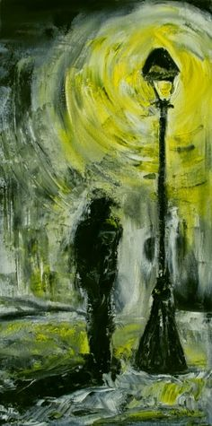 Midnight Stroll original palette knife yellow night lamp light street lamp oil painting by Laura Saune