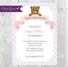 Pink and Purple Teddy Bear Children's Birthday Party Invitation - Printable Digital Invite - 1st, 2nd of 3rd Birthday Invitation!