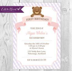 Pink and Purple Teddy Bear Children's Birthday Party Invitation - Printable Digital Invite - 1st, 2nd of 3rd Birthday Invitation!