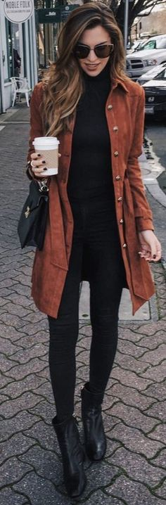 Camel Suede Front Button Jacket | Camel On Total Black Winter Streetstyle | Vanilla Extract