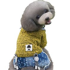 Patgoal Dog Teddy Clothes Lapel Knit Sweater with Jeans Jumpsuit for Puppy Cat ** Learn more @