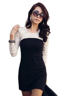 b0e8daac80 Summer Dresses 2017 Fashion Lace Patchwork Women Long Sleeve O neck Dress  Casual Female Slim Mini Dress Vestidos -in Dresses from Women s Clothing ...