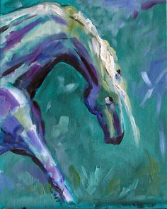 Summer Horse 35 painted in an evening Rain Shower. 100 Horse Paintings in 100 days for $100 each by Texas Artist Laurie Pace