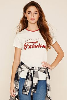 Shop graphic tees for women at Forever Browse all of the best vintage, cute and funny T-shirts. Find the perfect style and size for you! Casual Chic, Buy T Shirts Online, Blouses For Women, T Shirts For Women, University Style, Stylish Tops, Absolutely Fabulous, Polo T Shirts, Fashion Images