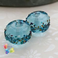Lampwork Beads Beachcomber Wave Pair by GlitteringprizeGlass