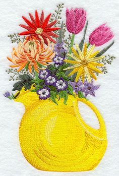 A Fiestaware pitcher filled with flowers machine embroidery design - do this with an actual fiesta pitcher and colorful flowers.  Really makes a statement. Great for an outdoor dinner tablescape
