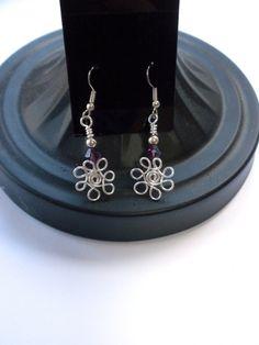 Spring Flower Earrings Wirewrapped with Purple Swarovski Crystal.