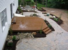 wood deck and stone patio combination outdoor spaces pinterest stone patios wood decks and the ojays - Deck And Patio Design Ideas