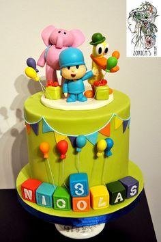 Pcoyo cake - Cake by Hajnalka Mayor Baby Cakes, Baby Birthday Cakes, Baby Shower Cakes, Cupcake Cakes, 1st Boy Birthday, 1st Birthday Parties, Cake Pocoyo, Cake Gallery, Cute Cakes