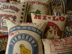 Flour Sack Pillow Cover Feedsack Pillow Cover  by AnnadaisyDesigns. on Etsy