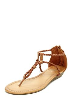 Carrini Braided Upper Thong Wedge Sandal