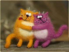 Коты-магниты в технике сухое валяние. Мастер-класс