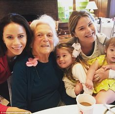 Love: Jenna Bush Hager (top right) paid tribute to her female family members, including her sister Barbara, her grandmother Barbara, and her daughters Mila and Poppy (from left to right) Barbara Pierce Bush, Barbara Bush, Presidents Wives, American Presidents, George Bush Family, Jenna Bush Hager, American Pride, American History, Laura Bush