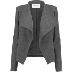 Amanda Wakeley Keshuki wool-blend felt jacket found on Polyvore featuring outerwear, jackets, coats, giacche, dark gray, open front jacket, wool blended jacket, drape jacket, shoulder pad jacket and drapey jacket