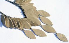 Light tan leather necklace by EmilyKauffelt on Etsy