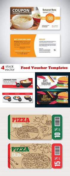 Gift Voucher Loyalty cards, Card templates and Coupons - food voucher template