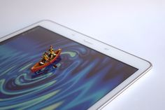 Rowing on the Tablet lake by Aica Garcia @microminiworld