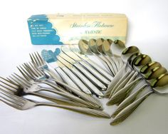 complete boxed set of Mid-Century stainless flatware