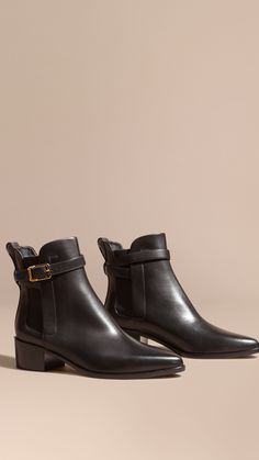 d651b0aa61c Buckle Detail Leather Chelsea Boots Black
