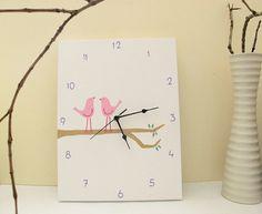Nursery kids clock rectangular canvas white pink and by Shellyka, $40.00