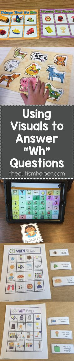 "Answering ""wh"" questions is an important & challenging goal to target with our students. Sarah's sharing how to use visual supports to help students practice ""wh"" questions!! From theautismhelper.com #theautismhelper"