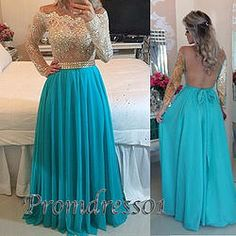 #promdress01 prom dresses -stunning blue green chiffon long sleeves backless modest senior prom dress, ball gown, cute dresses for teens