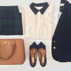 Plaid skirt - cream blouse with navy collar - navy blazer - bow pumps - purse | StylishPetite.com