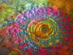 machine embroidery on hand made felt Thread Painting, Fabric Painting, Fabric Art, Free Motion Embroidery, Machine Embroidery Applique, Felt Wall Hanging, Felt Pictures, Wet Felting, Needle Felting